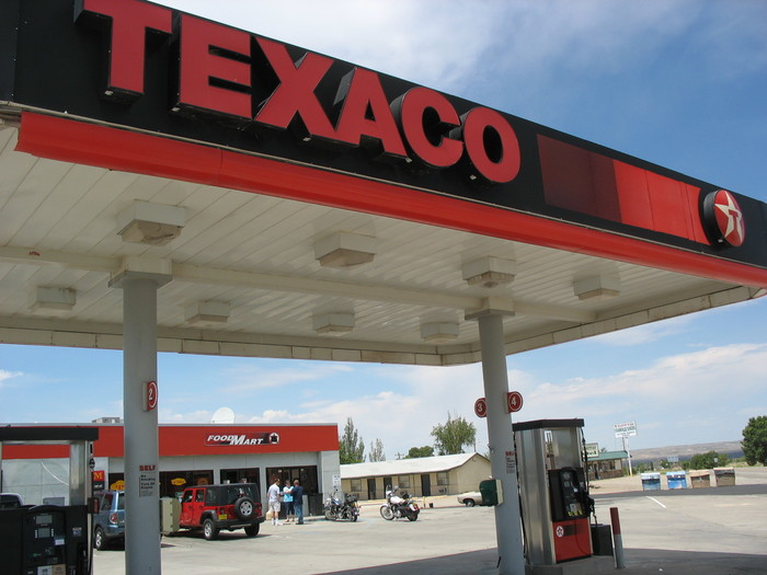 Texaco service station in Carrizozo, Texas.