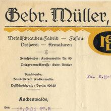 Gebr. Müller Luckenwalde invoice, 1927