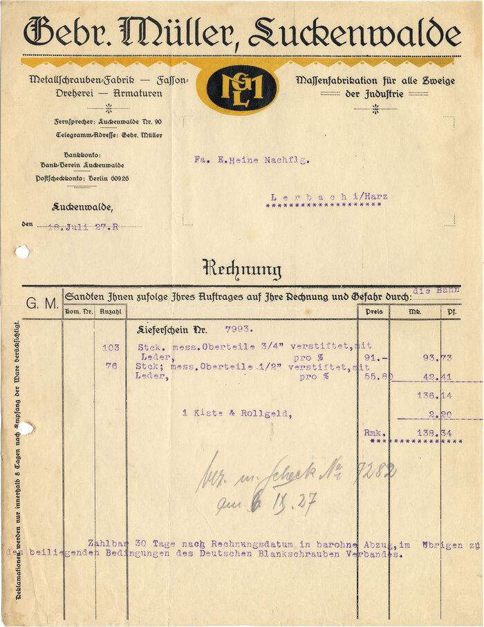 Gebr. Müller Luckenwalde invoice, 1927 1