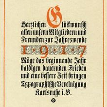 """Typographische Vereinigung Karlsruhe, New<span class=""""nbsp"""">&nbsp;</span>Year wishes 1917"""