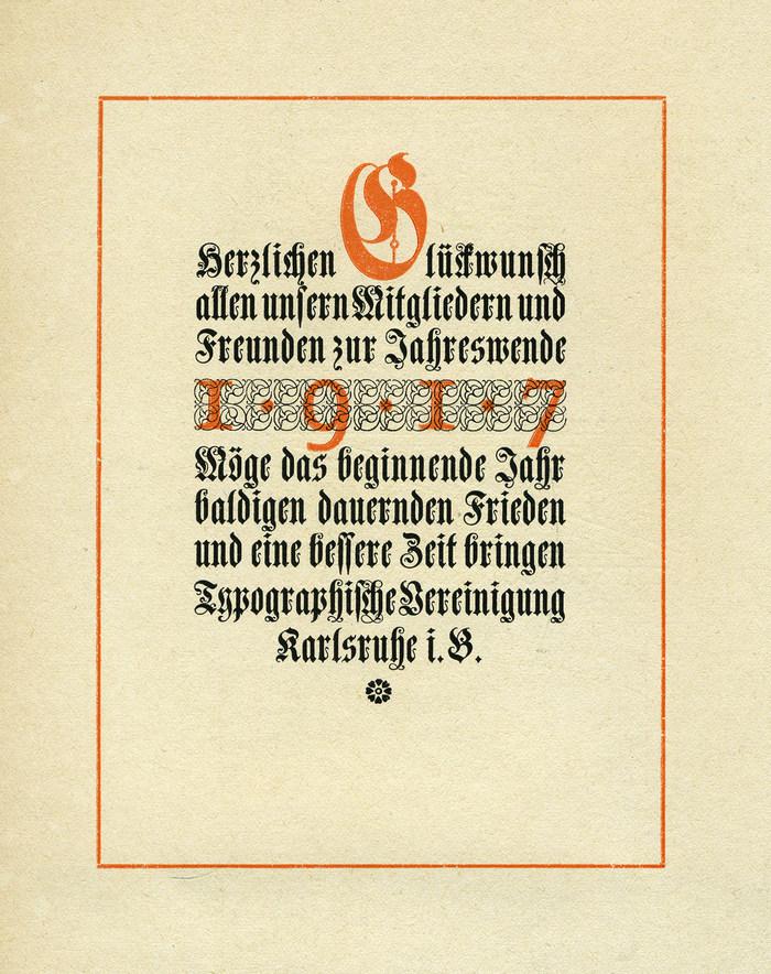 Typographische Vereinigung Karlsruhe, NewYear wishes 1917