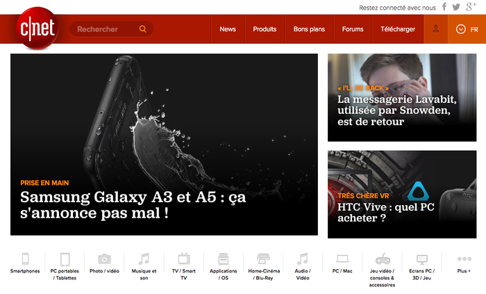 CNET homepage with Jubilat Medium, reversed on images