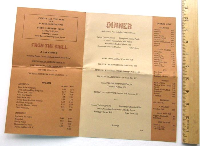 Bear Mountain Inn menus 2