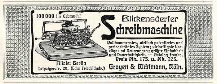 Blickensderfer typewriter ad