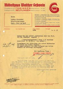 Möbelhaus Walther Geßwein letter, 1937