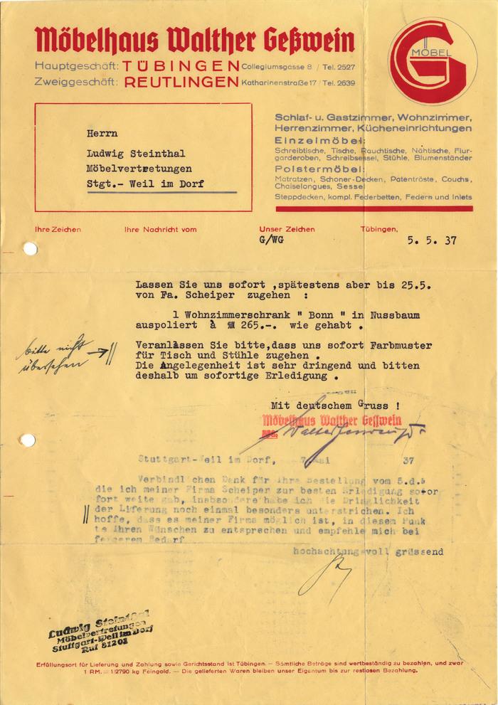 Möbelhaus Walther Geßwein letter, 1937 1