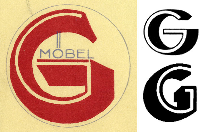 The logo with the big red 'G' is not from a font, but was custom drawn. This kind of three-dimensional treatment was very much in vogue in type, too. For comparison: Arno Drescher's Helion (Schriftguss, top) and Willy Schaefer's Neon (C.E. Weber, bottom), two related typefaces that were both released in 1935.