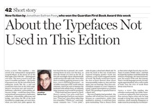 """About the Typefaces Not Used in This Edition"" — Jonathan Safran Froer, <cite>The Guardian</cite>"
