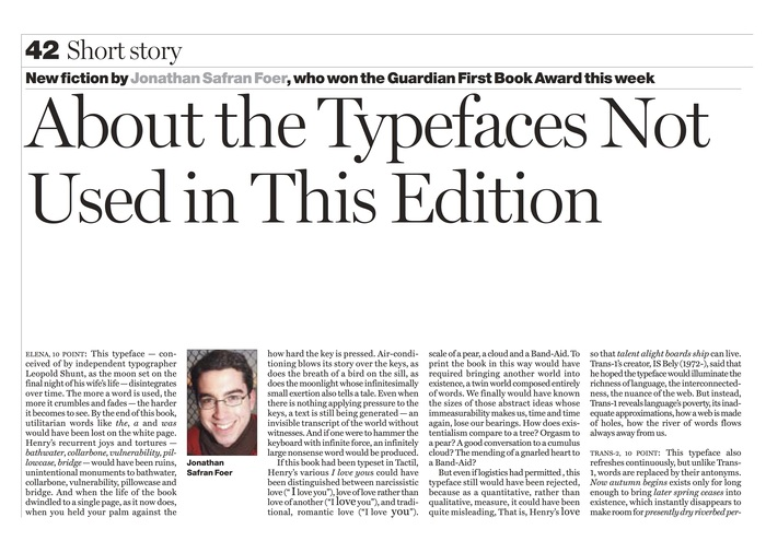 """About the Typefaces Not Used in This Edition"" — Jonathan Safran Froer, The Guardian 1"