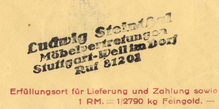Möbelhaus Walther Geßwein letter, 1937 3