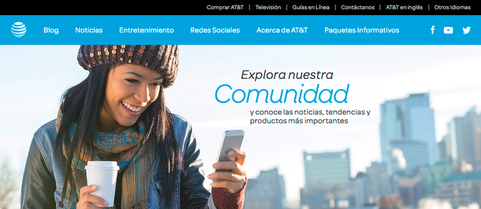 Header of the Spanish-language website