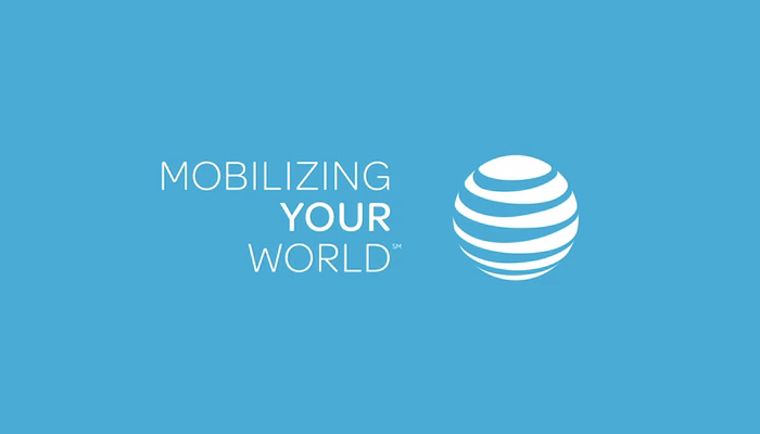 "AT&T's globe logo is complemented by the marketing proposition ""Mobilizing Your World"", rendered in right-aligned caps from Omnes."