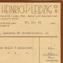 Fuhrgeschäft Arno Heinrich invoice, 1939