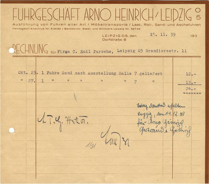 Fuhrgeschäft Arno Heinrich invoice, 1939 1