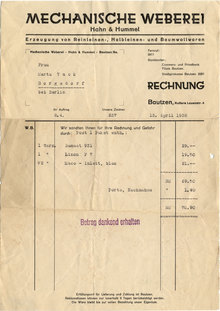 Mechanische Weberei Hahn & Hummel invoice, 1938