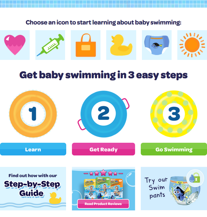 The animated microsite for Little Swimmers swim pants makes colorful use of Omnes Bold and Semibold.