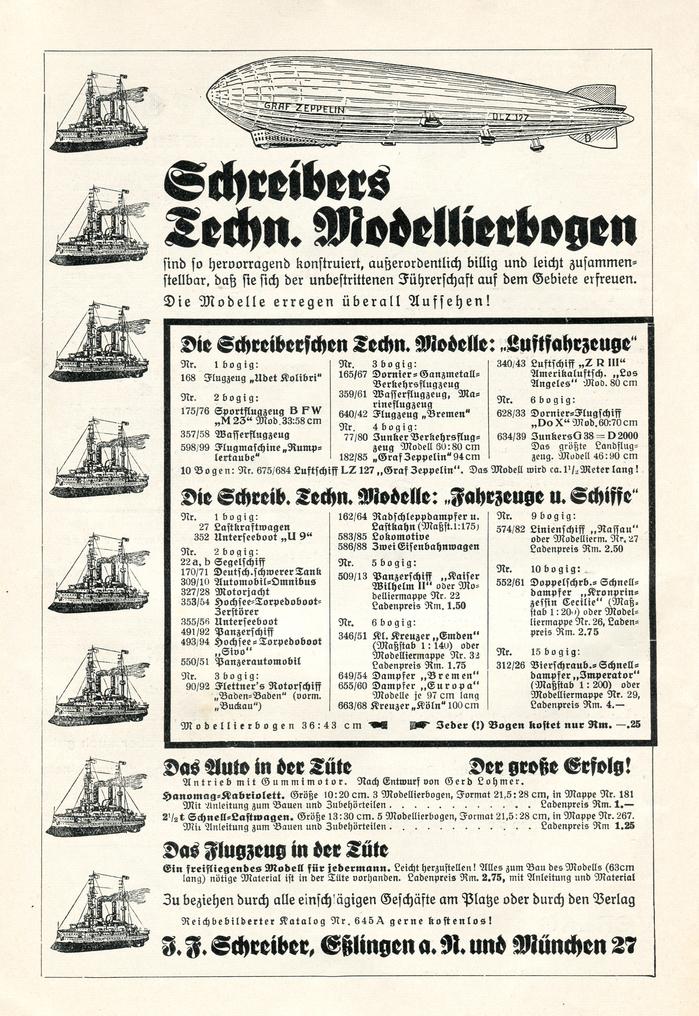 Ad for J.F. Schreiber papercraft sets