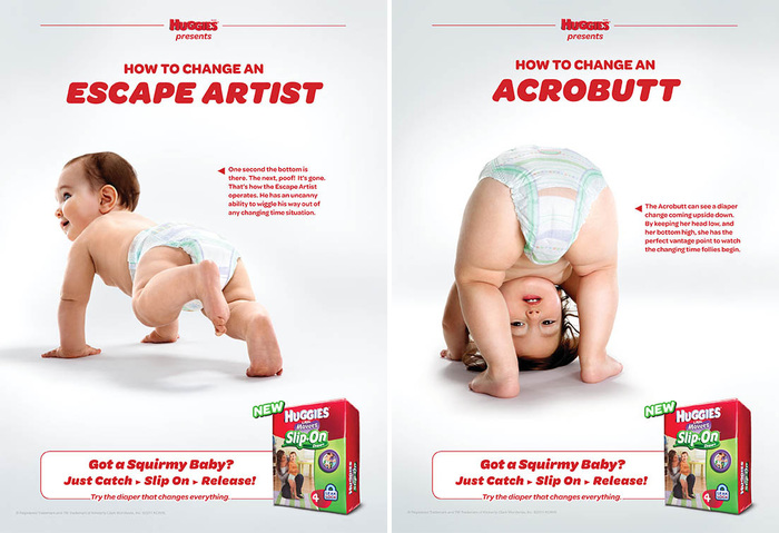 """Ads from the """"Little Mover's Slip-On Diaper"""" campaign. See also the TV spots directed by Bruce Hurwit."""