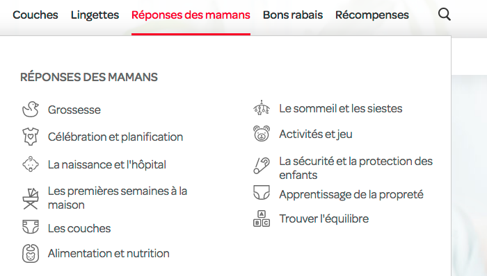 """Menu of the French-language website with """"Mommy Answers"""". Omnes is paired with matching icons."""