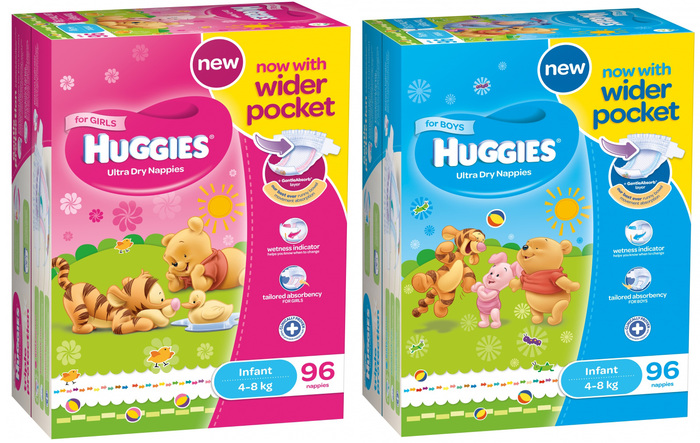 In New Zealand and Australia, Huggies diapers are marketed in gender-specific versions for girls and boys. Omnes works for both.
