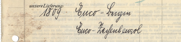 """Not only was Germany oscillating between Fraktur and Antiqua typography. Handwriting was complicated, too: People learned and used two fundamentally different scripts, """"Lateinisch"""" (roundhand) and """"Deutsch"""" AKA Kurrent (a cursive broken script). The writer of this invoice mixed both styles arbitrarily. The first line reads """"Euco-Benzin"""", with characteristic Kurrent forms for 'B', 'e', and 'z'. The line below reads """"Euco-Zechenbenzol"""". Now the 'e' and the 'z' are clearly """"lateinisch"""", while the 'ch' shows """"German"""" letterforms."""