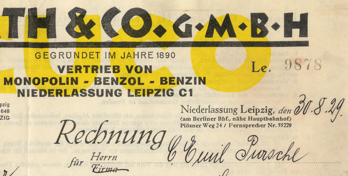 """The punches for Neuland were manually cut by Rudolf Koch himself, without any previous design on paper, true to the Arts and Crafts ideal of immediate expression — """"like in the old days, the inventor of the form and the maker of the punch united in one person"""" [specimen]. Each size is hence a little different, as one can see in the letter 'H' here (36pt and 28pt). Walter Tracy points out that greater differences only occur in letters where the variation doesn't matter much, which suggests that at least some of them are intentional.    The line for place and date features all three members of the Tiemann-Mediäval family, regular, halbfett and kursiv. The form design allowed for """"Herrn"""" (gentleman) or """"Firma"""" (company) — female customers were not yet envisioned."""