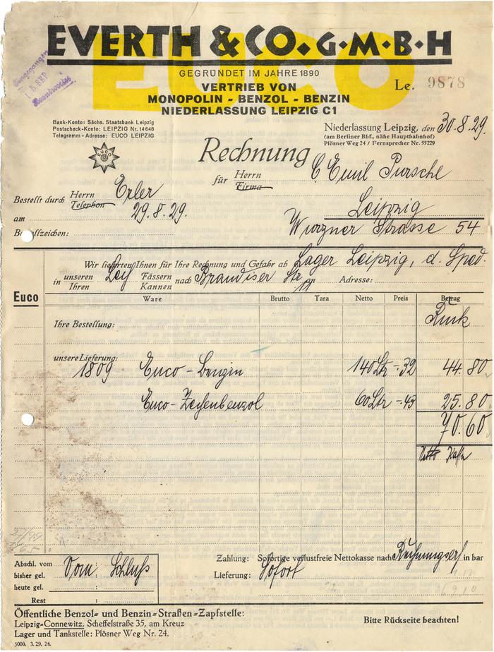 Everth & Co. invoice, 1929 1