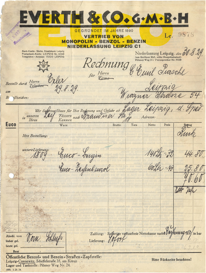 Everth & Co. invoice, 1929 1