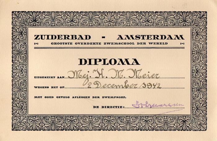 Zuiderbad Amsterdam Swimming Certificate
