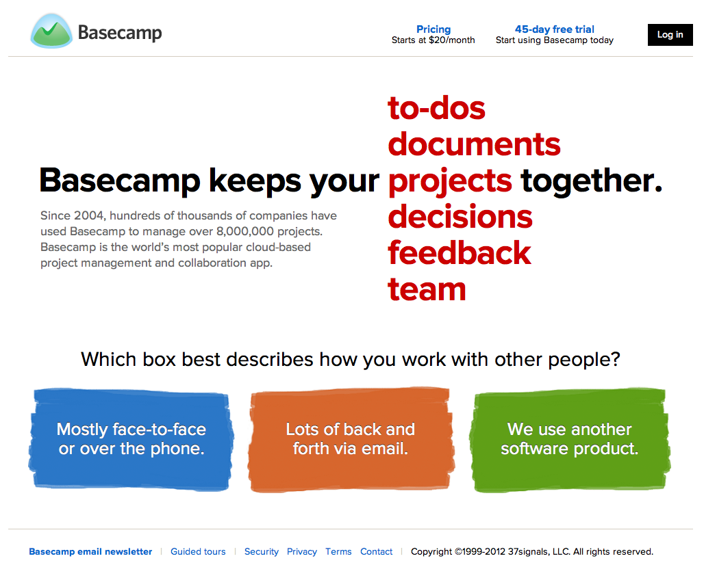 Basecamp 2 Product Site - Fonts In Use