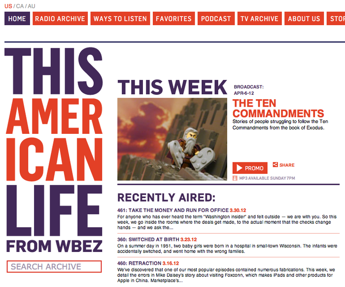"""This American Life"" Website 2"