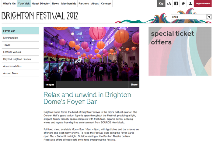 Brighton Festival 2012 Website 2