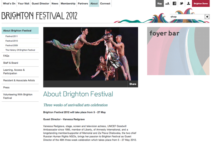 Brighton Festival 2012 Website 3