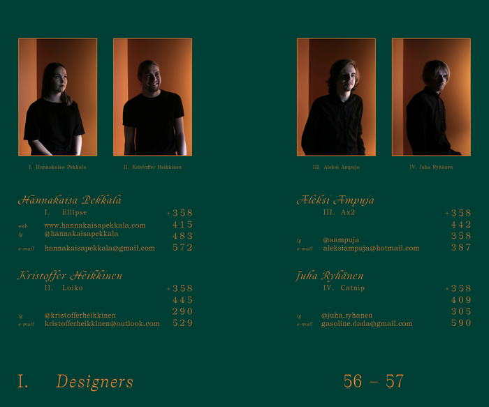 Catalog spread — designer index