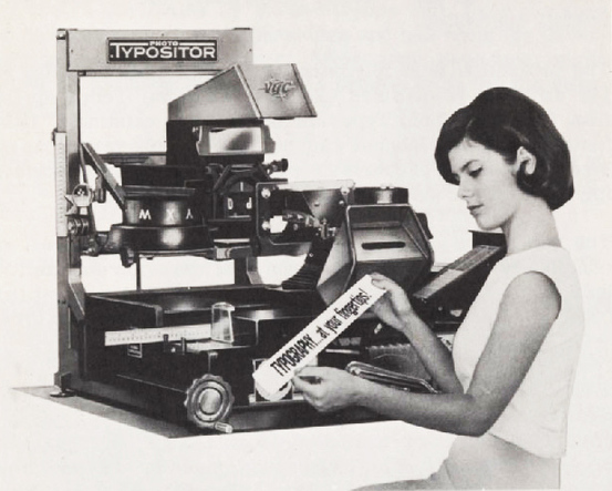"""""""Typography … at your fingertips!"""" An earlier version of the Photo Typositor, featuring a logo in custom sans serif caps with an extended 'T' bar."""