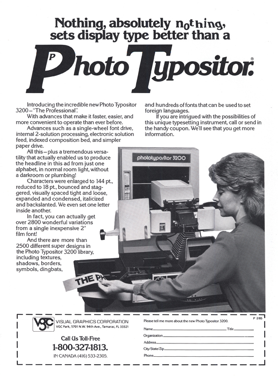 The Photo Typositor 3200 in a magazine ad from 1985. The ad typography is in Korinna.