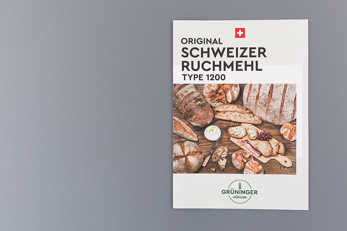 Also used in layouts for informative leaflets and various advertising media, Cera Pro conveys the sense of Swiss clarity and distinct identity that Michael Risch wanted to achieve for Grüninger Mühlen.