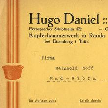 Hugo Daniel invoice, 1935