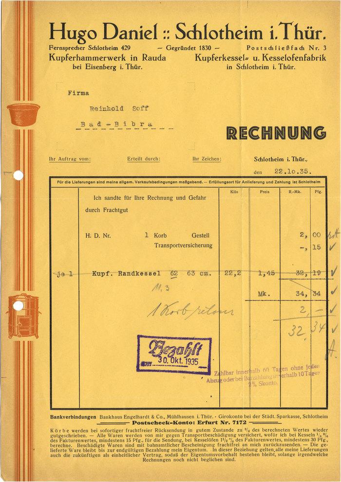 Hugo Daniel invoice, 1935 1