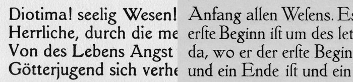 A comparison of Janus-Pressen-Schrift (private, 1907, left) and Tiemann-Mediäval (Klingspor, 1909, right). Note that the two samples show neither the same size nor reproduction method.