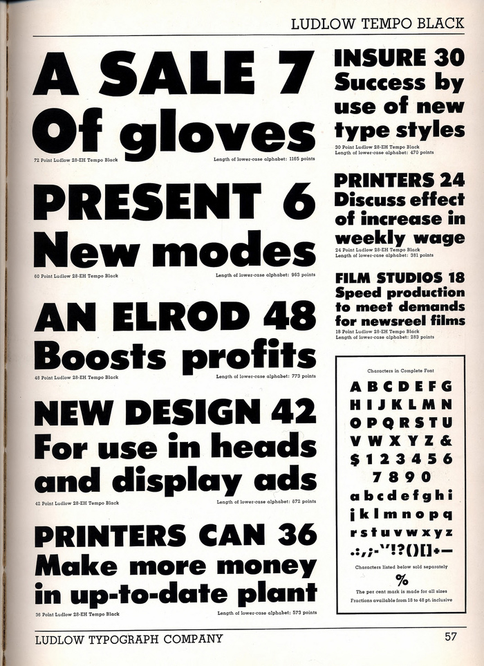A page from the Ludlow Typefaces [Edition D, copy 1140] specimen book (ca. 1940–58).