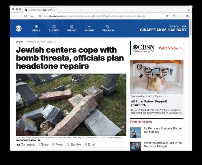 CBS News website, 2017 3