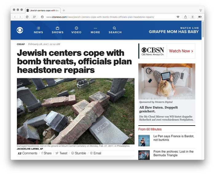 CBS News website, 2017 3