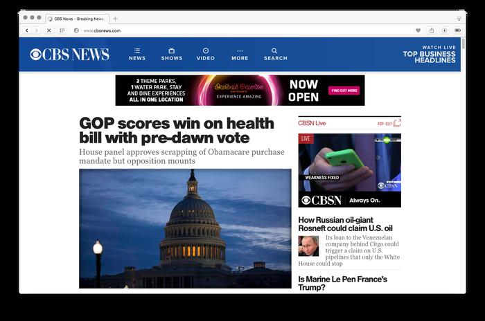 CBS News website, 2017 1