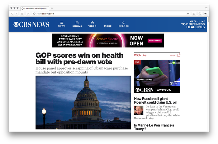 CBS News website, 2017 1