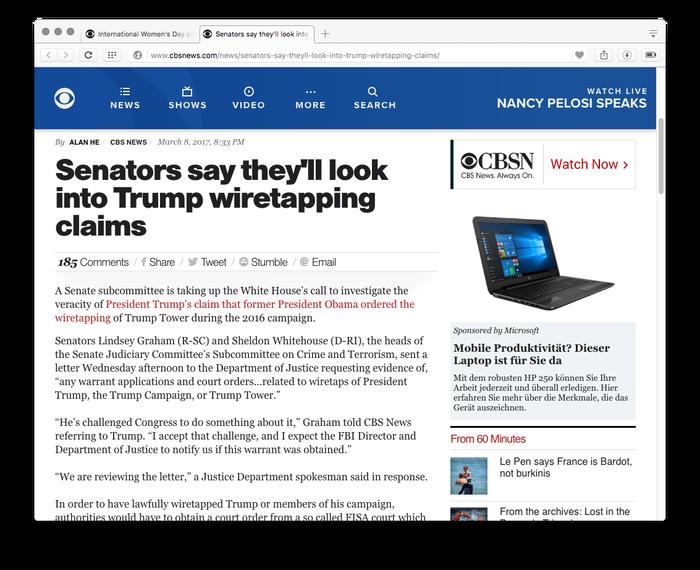 CBS News website, 2017 2