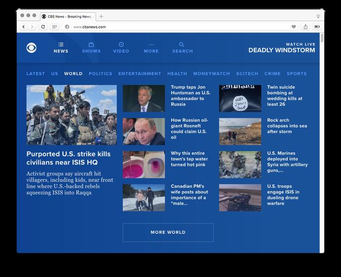 CBS News website, 2017 4