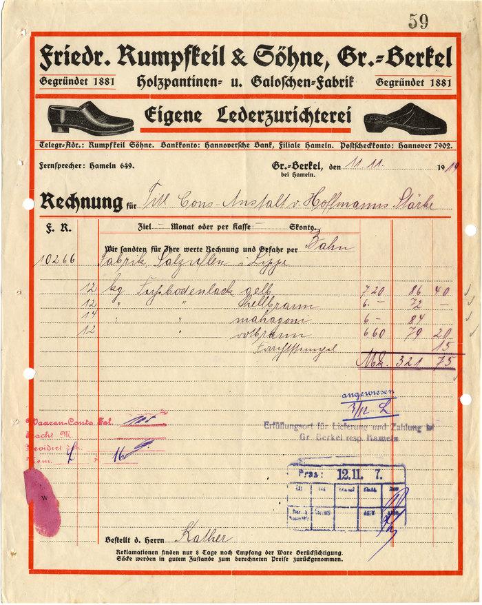 Friedrich Rumpfkeil & Söhne invoice, 1919 1