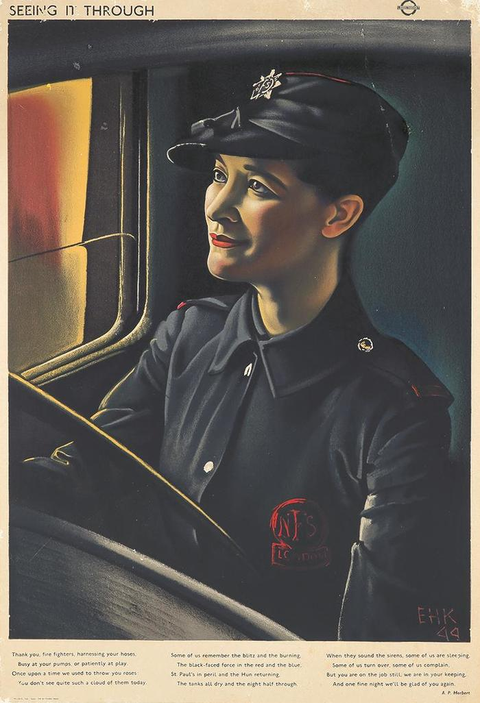 """A second poster in the ""Seeing it Through"" series for London Transport, this one championing firefighters, addresses a curious side effect of Londoners' famous"