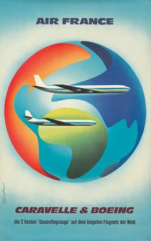 Air France poster: <cite>Caravelle &amp; Boeing</cite>